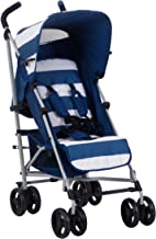 My Babiie US01 Blue Stripes Baby Stroller – Lightweight Baby Stroller with Carry Handle – Silver Frame and Blue Stripes – Lightweight Travel Stroller – Suitable from Birth – 33 lbs