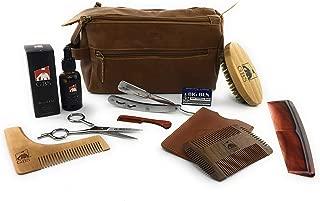 "GBS Men's Deluxe Beard Grooming Set-Travel Bag,Barber Folding Shavette Razor,Shaping Tool,Dual Action Beard Comb,Unscented Beard Oil,5.5"" Beard Brush,Trimming Scissors,Ear Nose Scissor+Accessories"