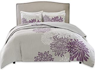 Comfort Spaces Enya 3 Piece Quilt Coverlet Bedspread Ultra Soft Floral Printed Pattern Bedding Set, Full/Queen, Purple-Grey