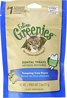 FELINE GREENIES Natural Dental Care Cat Treats Tempting Tuna Flavor, 2.5 oz. Pouch