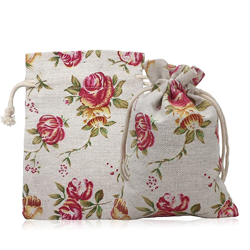 Aprince 20 Pcs Burlap Bags Roses Flower Burlap Bag with Drawstring Double Drawstring Linen Bags Reusable Linen Pouches Perfect for Jewelry Pouch Wedding Birthday Parties Favor Gift/Candy Bags