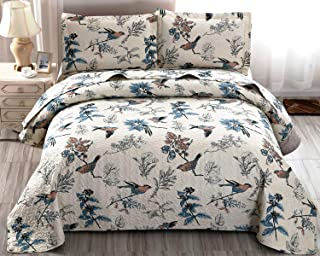 Floral Quilt King Size Bird Floral Bedspread Set Country Quilt Reversible Print Bedspread..