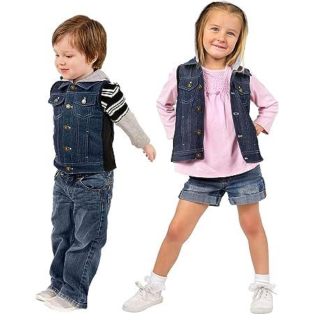 ZooVaa Weighted Vest/Jacket for Kids - Children's Denim Weighted Compression Vest w/Hoodie/Jacket and Removable Weights (Medium, Denim Vest w/Hoodie)