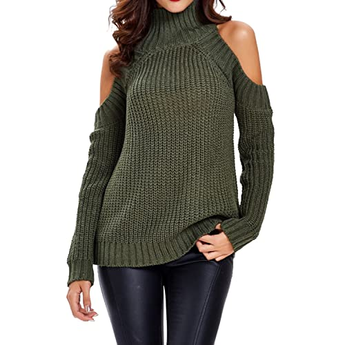 fbdc1629087267 Choies Women Black Turtleneck Cut Out Cold Shoulder Ribbed Knit Slim Pullover  Sweater