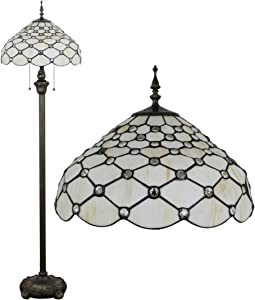 Gweat Tiffany 16 pollici europeo Retro Stained Glass White Pearl Serie Lampada da terra