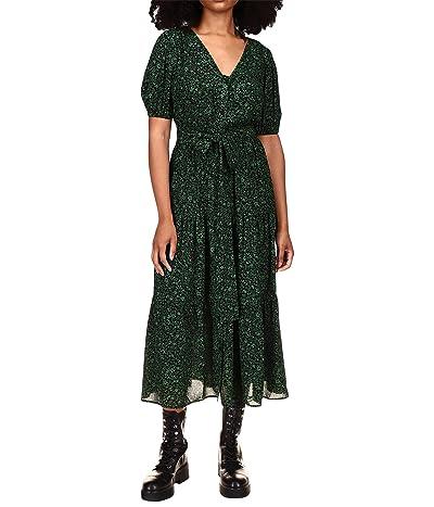 MICHAEL Michael Kors Floral V-Neck Tiered Midi Dress