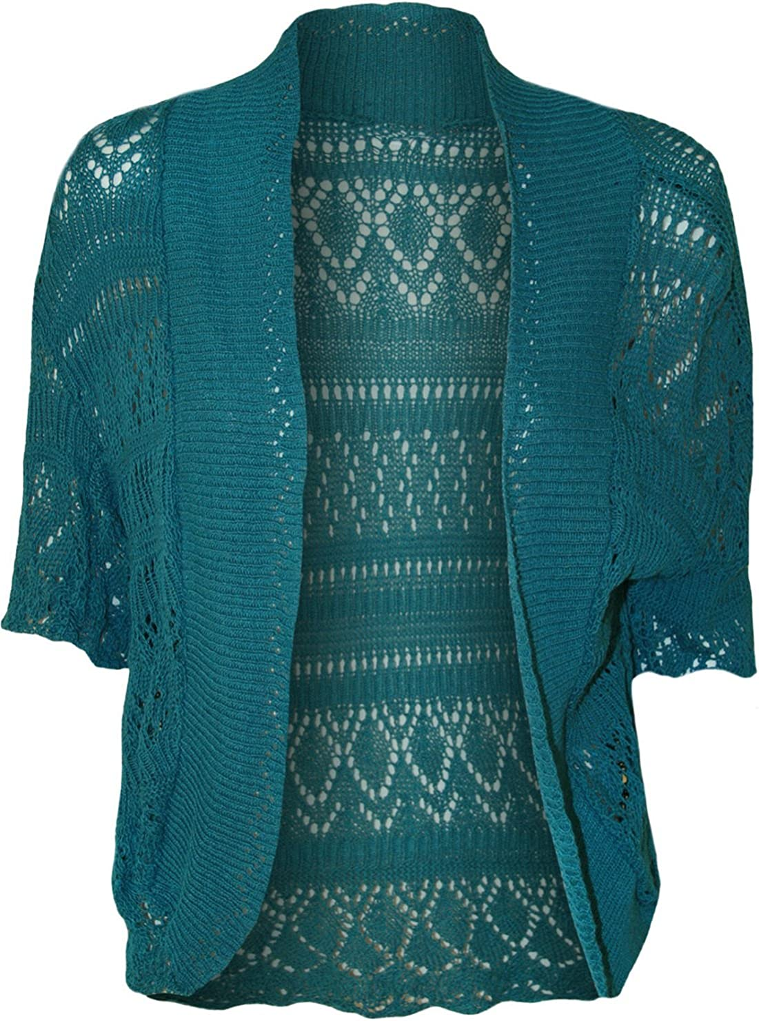 RM Women's Ladies Knitted Bolero Crochet Cardigan Shrug (SM-4XL)