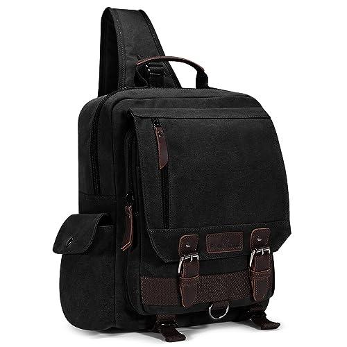 89befd617 Plambag Canvas Sling Backpack One Strap Travel Sport Crossbody Bag Large