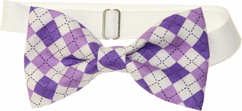 Men's Purple Argyle Pre-Tied Cotton Bow Tie On Adjustable Twill Strap