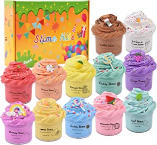 DAIZIKUAI 12 Pack Scented Butter Slime Kit with Coffee,Rainbow,Unicorn,Ice Cream,Watermelon Slime Charms and More,Soft and...