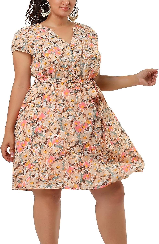 Agnes Orinda Plus Size Dresses for Women V Neck Elastic Waist Summer Floral Midi Dress