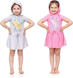 2 Pack: Girls Active Printed Glitter Cationic Dresses 2 Piece Set, Toddler and Kids