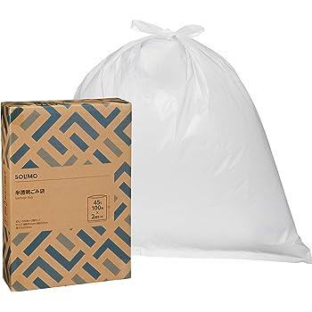 [Amazonブランド]SOLIMO ごみ袋 半透明 45L 100枚 x2個セット(200枚)