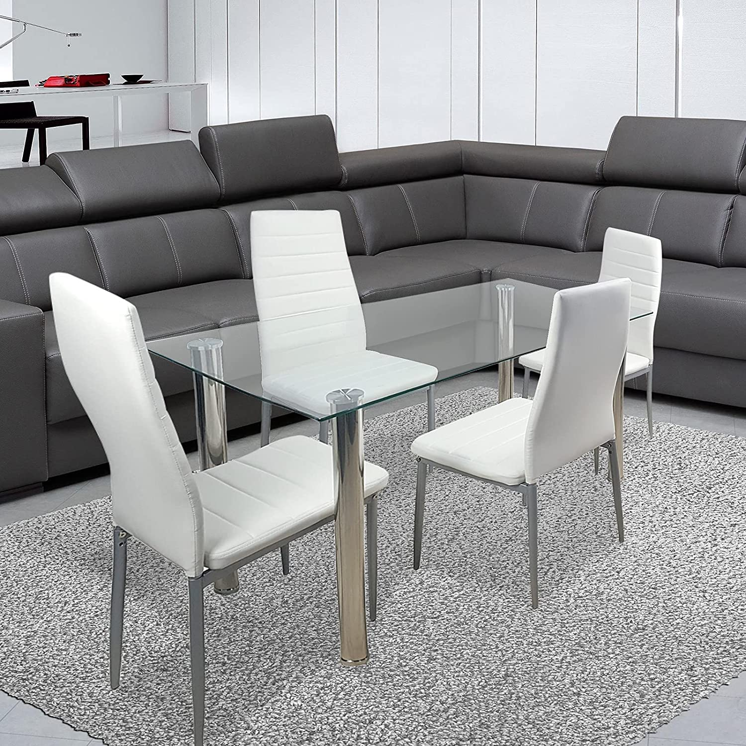 Troopville 5 Piece New sales Recommended Dining Table Glass Transparent Tempered Set