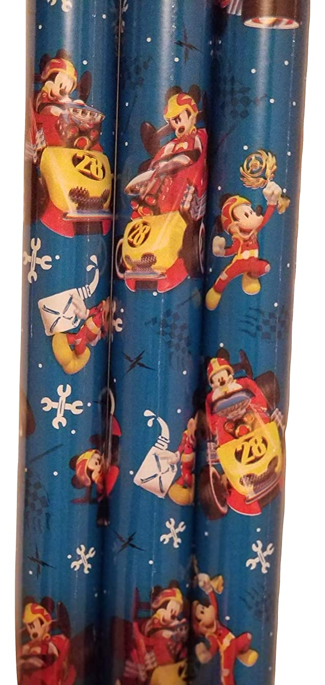 Mickey Mouse and his Road-Racer Theme Gift Wrap -Christmas Wrapping Paper 20 sq ft. (1 Roll)