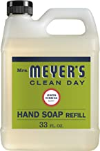 Mrs. Meyer's Clean Day Liquid Hand Soap Refill, Cruelty Free and Biodegradable Hand Wash Made with Essential Oils, Lemon Verbena Scent, 33 oz