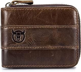 RFID Blocking Mens Leather Zipper wallet,Zip Around Vintage Bifold Multi Credit Card Holder