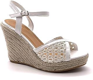 Angkorly - Chaussure Mode Sandale Escarpin Hauts Talons Bohème Casual Femme avec de la Paille tressé perforé Talon compens...