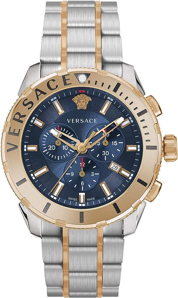 Versace orologio cronografo uomo  cassa in acciaio inossidabile quadrante blu, vetro zaffiro e cinturino pelle VERG00618