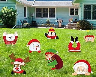 luck sea 8PCS Christmas Yard Signs Stakes Decorations - Xmas Outdoor Yard Sign Lawn Decor Winter Wonderland Ornaments