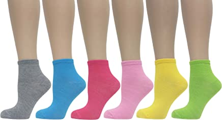 6bace95807d4 JAVEL Women's 6 Pack Solid Color Ankle Socks