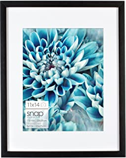 Snap 11x14 Black Wall Picture Frame with Single White Mat For 8x10 Image