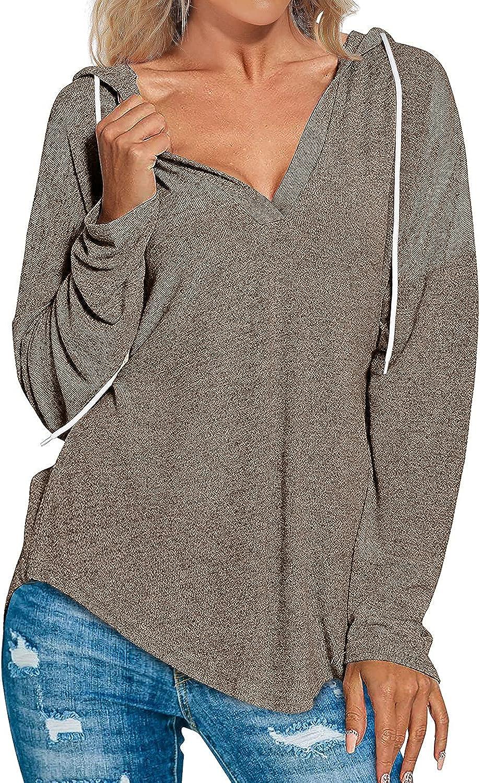 Hoodies for Women Pullover Sweatshirts Long SLeeve V Neck Shirts S-2XL