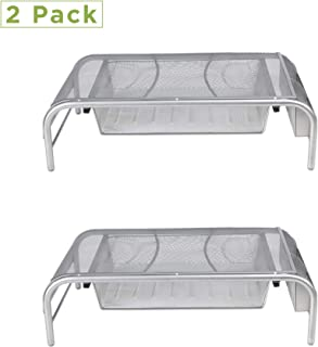 Mind Reader 2MESHMON-SIL Metal Mesh Stand and Desk Organizer with Drawer, Monitor Riser, Silver-2 Pack (Renewed)