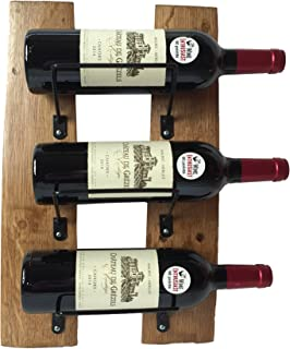 3 Bottle Wine Rack - Handcrafted From Used Wine Barrel Staves - Sturdy Wall Mounted - Beautifully Rustic - 17.5