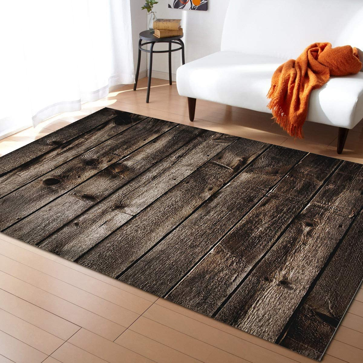 KITHOME Contemporary Non-Slip Area Rug Printed Grain Simple Wood Challenge Max 46% OFF the lowest price