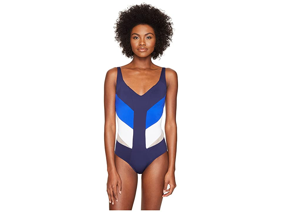 La Perla Color Power Underwire One-Piece (Navy/Cobalt/White) Women