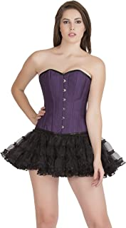 Purple Poly Cotton Black Piping Gothic Costume Overbust Corset Waist Trainer Top