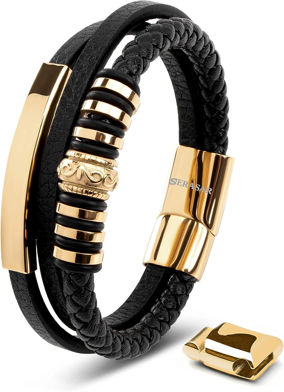 SERASAR   Pulsera de Cuero Premium para Hombre en Negro   Cerradura Magnética de Acero Inoxidable en Negro, Plata y Oro   Joyero Exclusivo   Gran Idea de Regalo