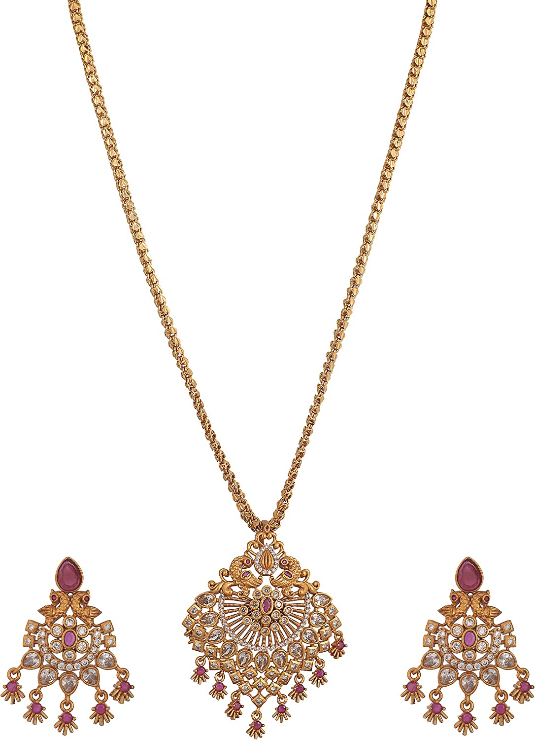 Tarinika Gold-Plated Indian Pendant Set - White Red -- For Women and Girls