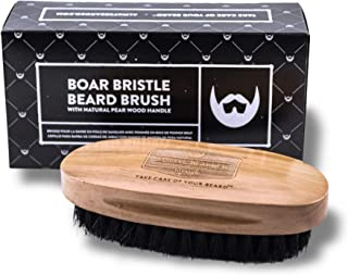 Boar Bristle Beard Brush. Ethically sourced, 100% Natural Black Boar Bristles. Medium Strength Bristles with Pear Wood Handle. Promotes Healthy Skin and Beard Growth.