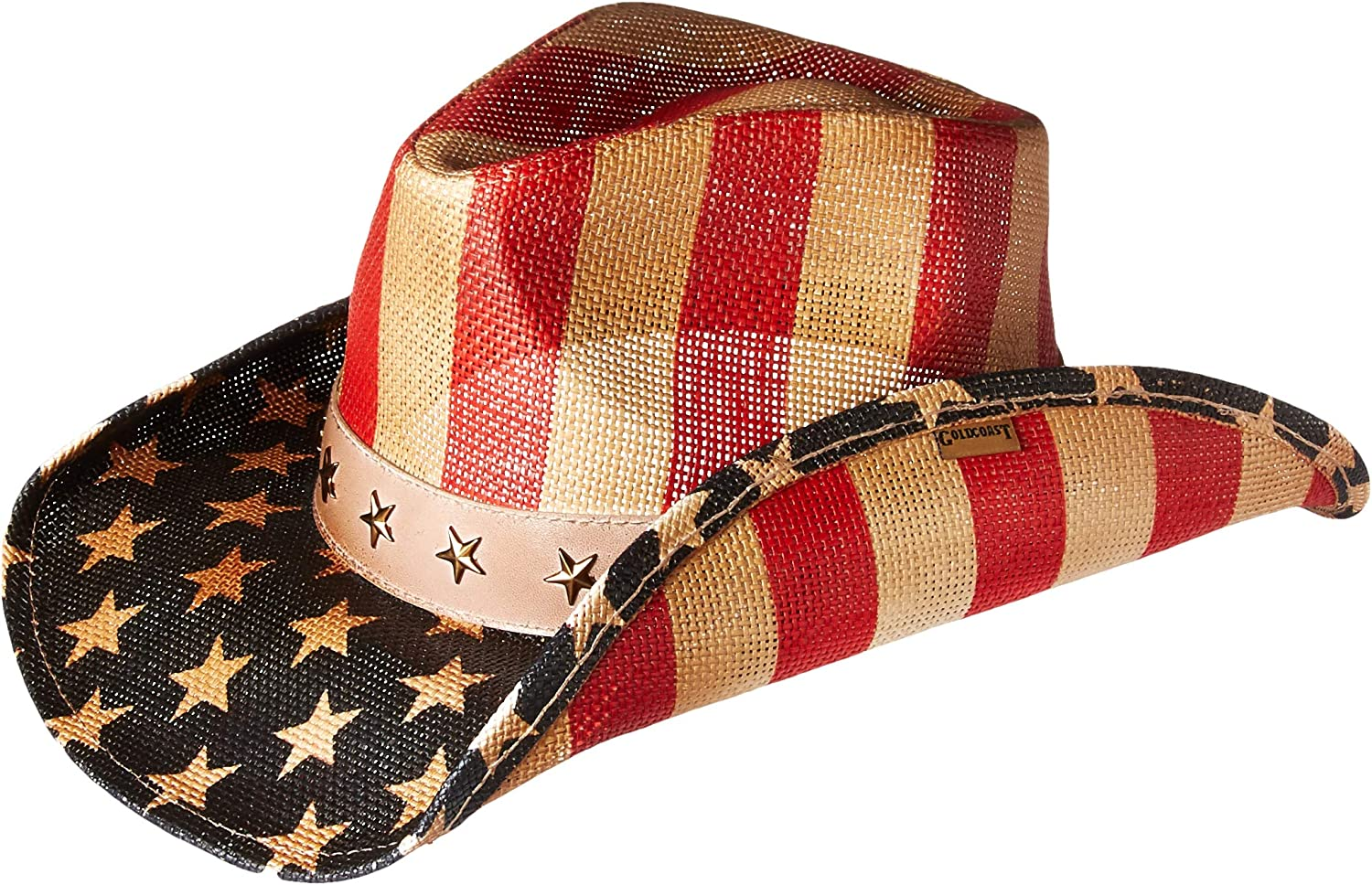 gold Coast Sunwear 100534607 American Flag Cowboy Hat, White