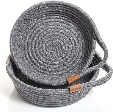 Juego de 2 cestas pequeñas para organizar: cartera y cuenco para llaves para decoración de mesa de entrada, bandeja gris oscu