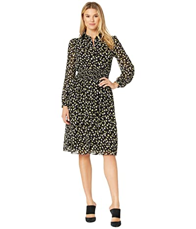 MICHAEL Michael Kors Tossed Lillies Dress (Black/Bright Dandelion) Women
