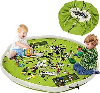 BELLESTYLE Kinderspielzeug-Aufbewahrungsbeutel, Baumwoll-Segeltuch-bewegliches großes einfaches aufgeräumtes Spiel u. Aufbewahrungs-Matte - schnellere Aufräumung! Grün, 150cm