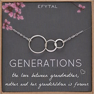 EFYTAL Generations Necklace for Grandma, Sterling Silver 3 Infinity Circles, Mom & Grandchildren