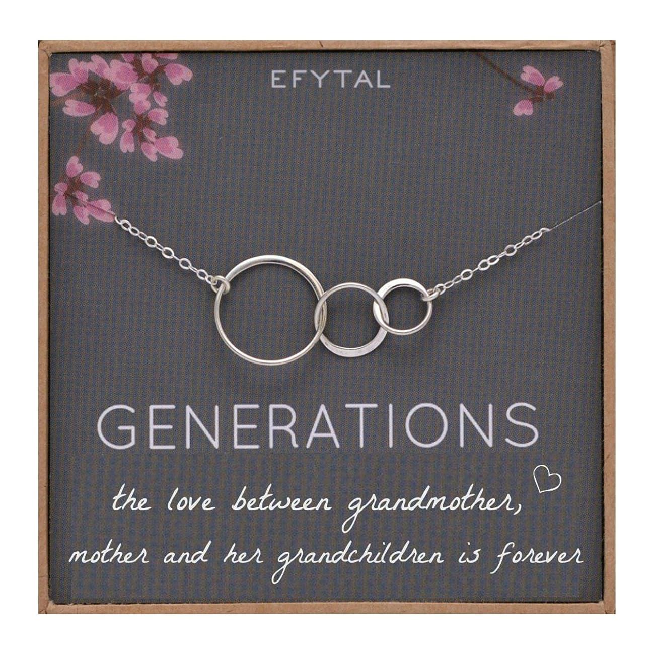 EFYTAL Generations Necklace for Grandma, Sterling Silver 3 Infinity Circles, Mom & Grandchildren