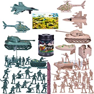 Funlittletoy 180 PCs Army Men Action Figures Army Toys of WW 2, Military Figures Set with a Map, Toy Tanks, Planes, Flags, Soldier Figures, Fences & Accessories
