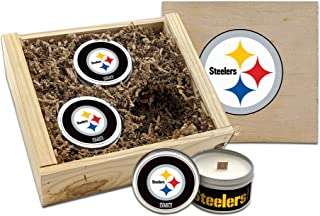 Worthy Promo NFL Scented Candles Gift Set in Wood Box (Pittsburgh Steelers)