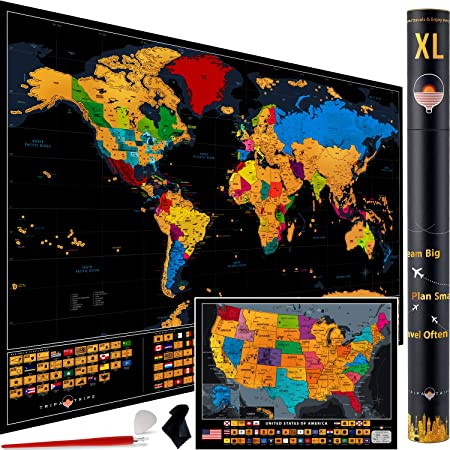 XL Scratch off World Map – 36 x 24 Scratch off Map of the World with 233 Flags + Scratch off USA Map – Extra Large & Detailed World Scratch off Map + Accessories – Deluxe Travel Map Scratch off Gift