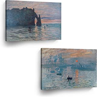 Impression Sunrise The Cliff Etretat Sunset Claude Monet 2 Panel Canvas Wall Art Canvas Print Set Famous Art Oil Paintings Modern Art Home Decor Ready to Hang-%100 Made in The USA- (8x12) x2