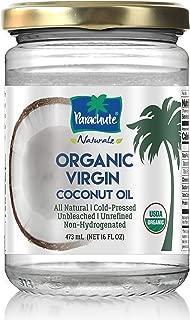 Parachute Naturalz 100% Organic Virgin Coconut Oil 16 fl.oz. Glass Jar (473ml) - Cold Pressed, USDA certified