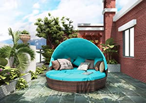 Merax All-Weather Outdoor Sectional Sofa Conversation Set Rattan Daybed Sunbed with Retractable Canopy, Separate Seating and Removable Blue Cushions