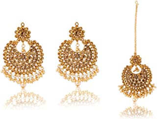 Crunchy Fashion Bollywood Style Traditional Indian Jewelry Crystal Earring & Tike Set for Women & Girls