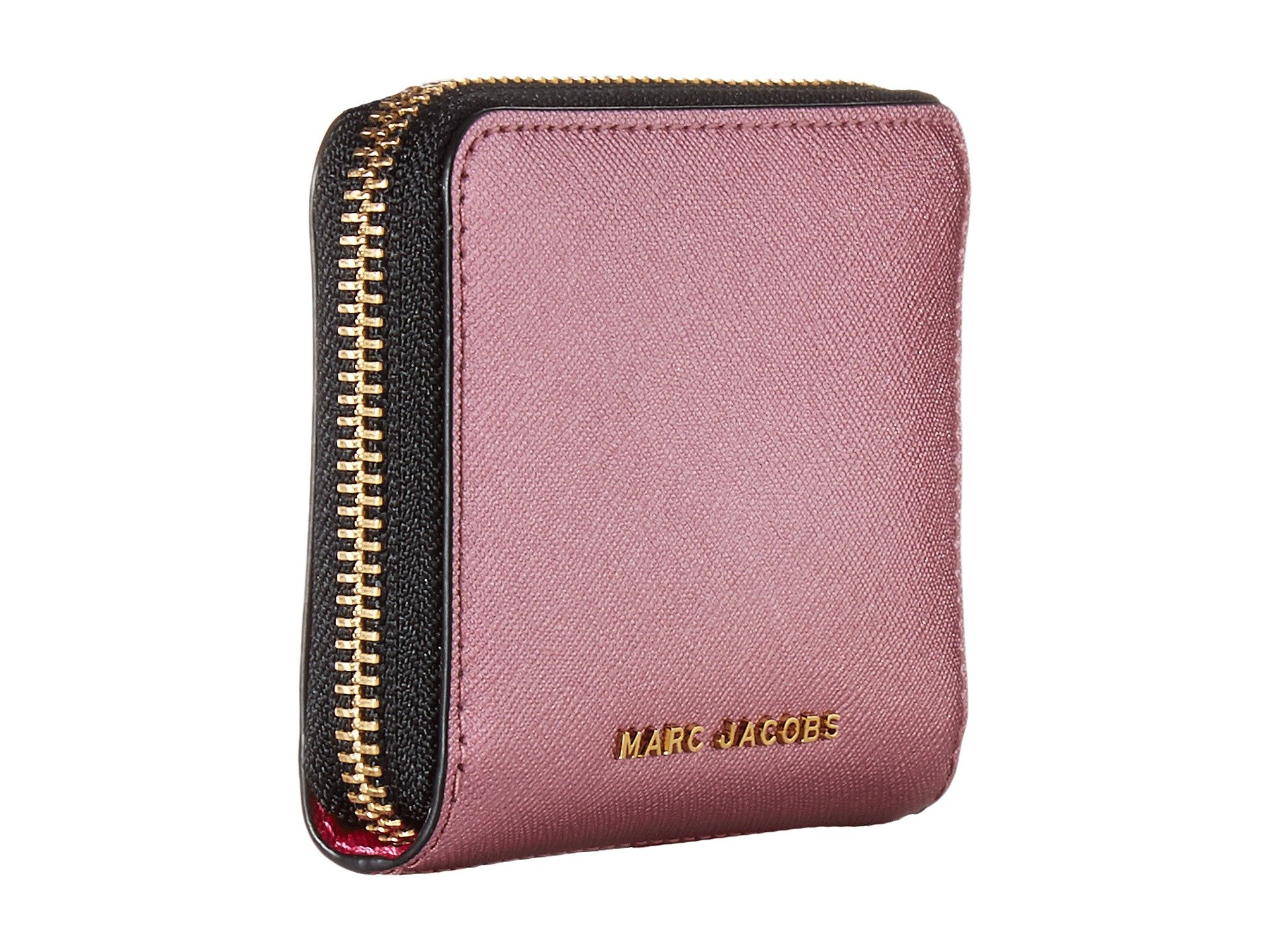 Marc Jacobs Saffiano Double J Zip Card Case at Luxury.Zappos.com