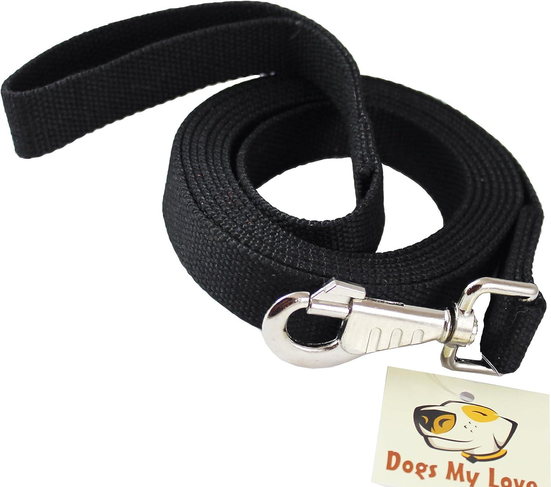 Dog Leash 1  Wide Cotton Web 10 Feet Long for Training Swivel Locking Snap, Pitt Bull, Cane Corso